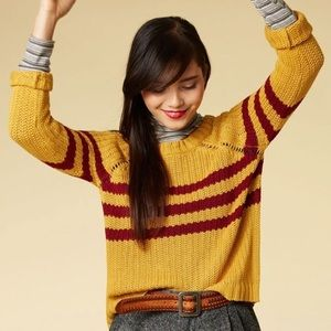 ModCloth Mind Over Alma Mater Sweater in Marigold